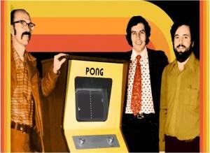 Ted Dabney, Nolan Bushnell e Al Alcorn, fundadores da Atari