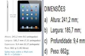 Um dos exemplos: dimensões informadas no site da Apple, na imagem da esquerda, e dimensões exigidas na licitação da PGR, na imagem da direita